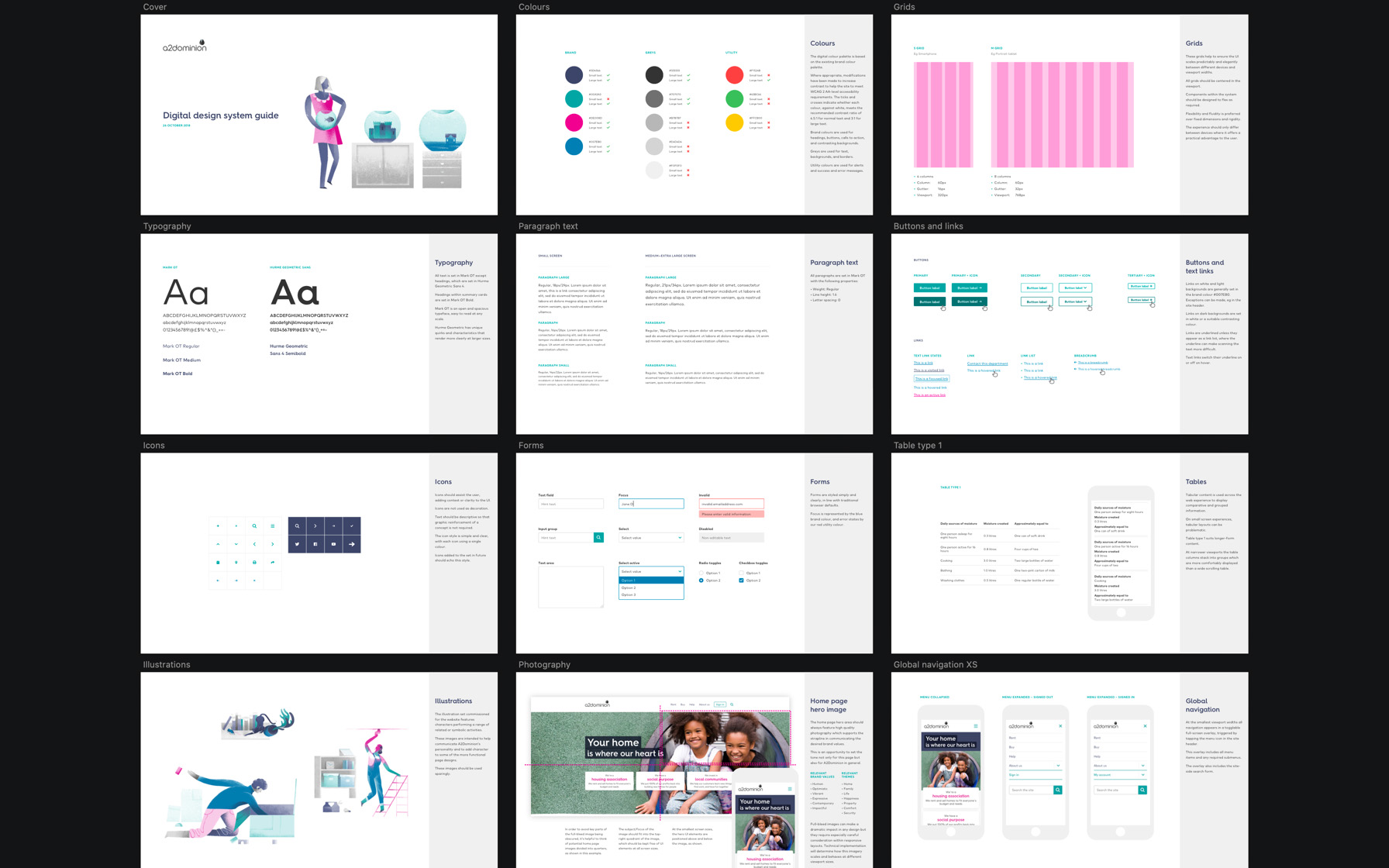 A2Dominion digital style guide sample pages