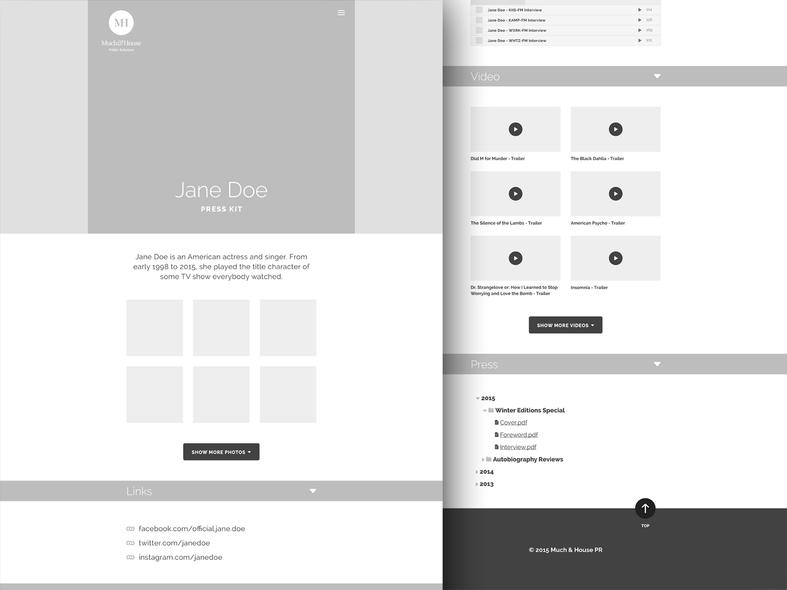 Press kit template wireframe